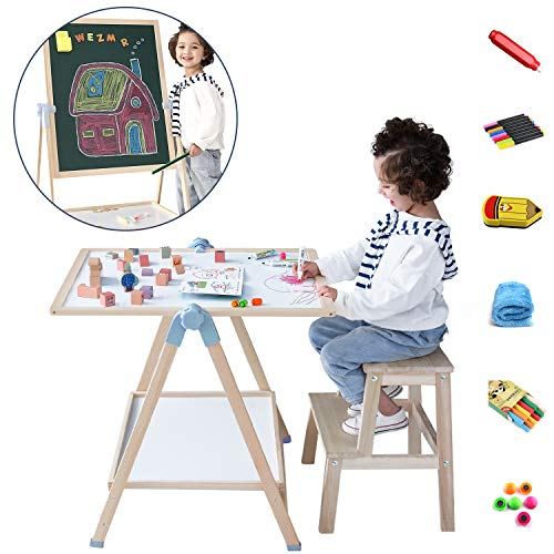 Kids Art Easel, QZM Deluxe Standing Easel Set, Adjustable Art Table, Magnetic Dry Erase Board&Chalkboard Double Sided Stand, 360°Rotating Drawing Easels with 33pcs Art Supplies, Gift, Age 3+
