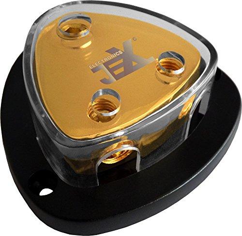 Jex Electronics 2-Way Car Audio Stereo Amp Power/Ground Cable Splitter Distribution Block 2ga