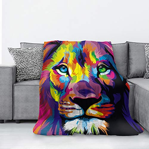Aibileen Colorful Lion Flannel Blanket Microfiber Decorative Extra Soft Throw Blanket Fuzzy Lightweight Fluffy Cozy Plush Comfy Couch Sofa Bed Blanket for All Season 50x40 Inch for Kids