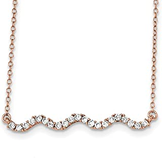 """Lex & Lu Sterling Silver Rose Gold-Plated CZ Necklace 18"""""""
