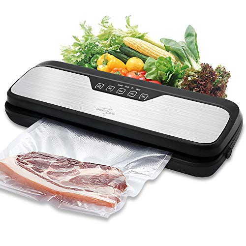 Vacuum Sealer Machine White Dolphin Vacuum Sealing System, Dry & Moist Food Modes for Preserving Food with Starter Kit Bag Rolls Hose and Mark Pen,(Stainless Steal)