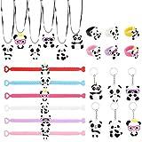 HOWAF Artículos de Fiesta Cumpleaños Niños, 24 Piezas Panda Collar Panda Anillo Panda Pulseras Panda llaveros para Niños Fiesta Cumpleaños Regalo Bolsas Fiesta Piñata Juguetes
