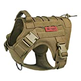 OneTigris Tactical Dog Training Vest No Pull Harness for Dogs,Adjustable K9 Dog Harness Working Vest(Coyote Brown,Small)