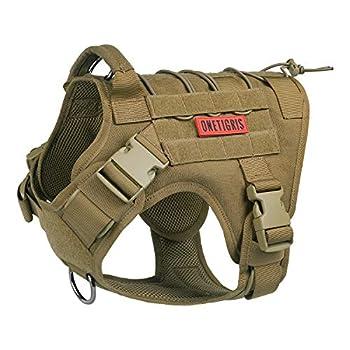 OneTigris Tactical Dog Harness - Fire Watcher Comfortable Patrol K9 Vest  Coyote Brown Large