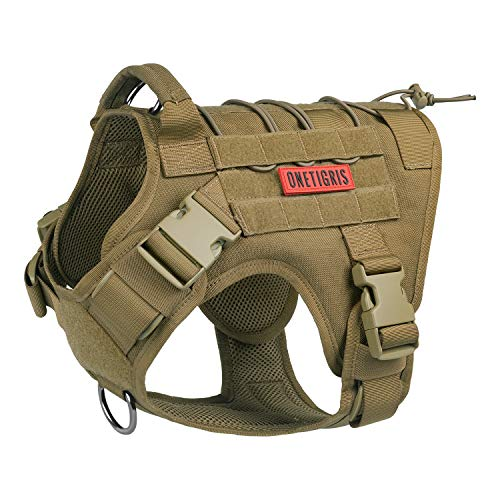 OneTigris Tactical Dog Harness - Fire Watcher Comfortable Patrol K9 Vest (Coyote Brown, Large)