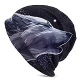 Lsjuee Gorro de lana para hombre Gorro de punto de lobos Sombreros suaves y cálidos Negro