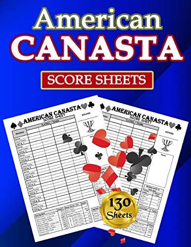 American Canasta Score Sheets: 130 Large Score Pads for Scorekeeping - American Canasta Score Cards | American Canasta Score Pads with Size 8.5 x 11 inches