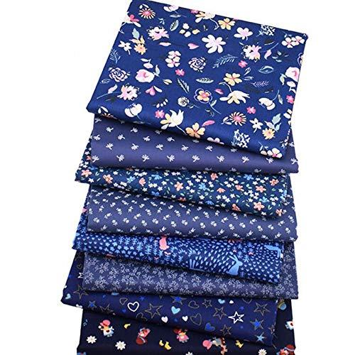 8 piezas/lote, serie floral azul oscuro, tela de sarga de algodón, 40 cm x 50 cm, tela de patchwork para costura, colcha, ropa de bebé y niño