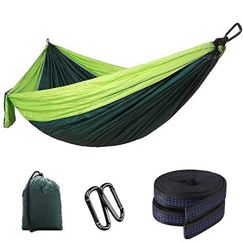 Hamaca de viaje al aire libre, hamaca de camping de nailon ligera, portátil, para cuna, cama, muebles de camping (tamaño: 300 x 200 cm, color: verde2)