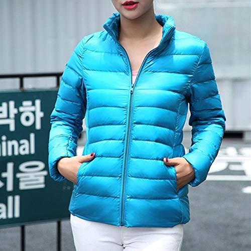 FDSAD Daunenjacke 2019 Herbst Winter Neue einfarbig Mantel Stehkragen warme schlanke reißverschluss Damenmode dünne licht Jacke Parka XXL blau