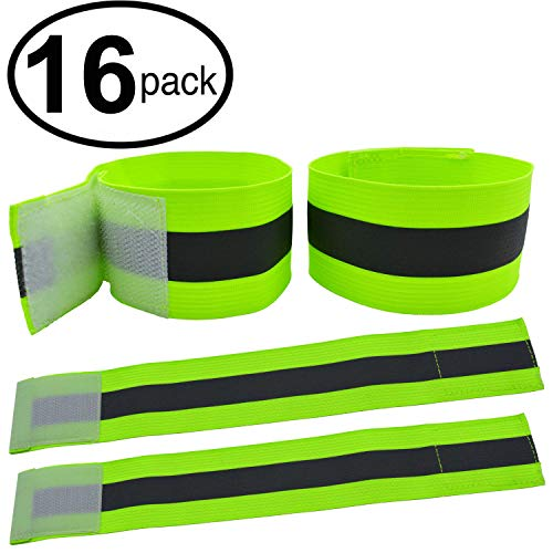 High Visibility Reflective Night Running Walking Elastic Strap Wristbands Ankle Bands Armbands Safety for Cycling Walking Running Camping Outdoor Sports-Fits Women, Men & Kids (8 Pairs / 16 Bands)