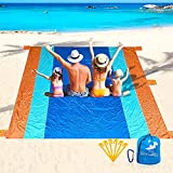 DYY Waterproof Sandless Beach Blanket, Extra Large Oversized 10'X 9' for 7 Adults Soft Beach Mat, Lightweight & Durable with 6 Stakes & 6 Pockets, Picnic Mat Easy to fold for Travel, Camping, Hiking