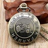 Qinggu - Orologio da tasca con catena sottile, stile vintage, stile vintage, stile vintage, con trattore, stile contadino, stile romano, digitale, da tasca, retrò, punk, JoinBuy.R
