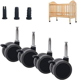 XHNXHN Lot de 4 roulettes de lit d'enfant pivotantes en Nylon pour lit d'enfant Roulette de Meuble de 2 Pouces avec Frein,...