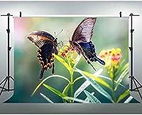 NEW JSCTWCL蝶の背景の蝶と花の写真の背景のカスタマイズメーカーの小道具10x7Ft245