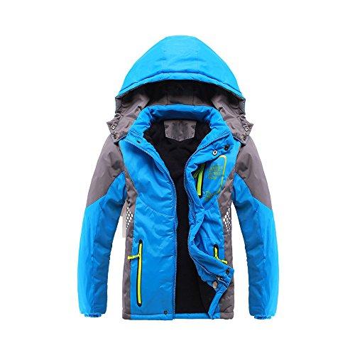 Phorecys - Chaqueta de invierno acolchada y gruesa con capucha para niño azul 11-12 Años