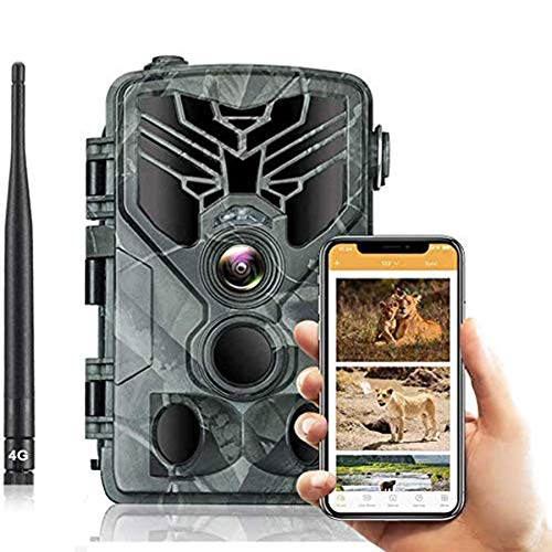 4G MMS/SMTP Fotocamera Caccia Fototrappola 20MP 1080P Wildlife Camera Impermeabile IP66 Trail Camera, Visione Notturna Invisibile, Macchine Fotografiche da Caccia 810LTE(Scheda SD da 16 GB)