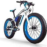 MQJ Ebikes 1000W Bici de Montaña Eléctrica 26 Pulgadas 48V16Ah Bicicleta Eléctrica de Neumático de Grasa / 27 Bicicleta de Nieve de Velocidad, Faros Led, Ho Adulto Bicicleta de Montaña Fuera de la Ca