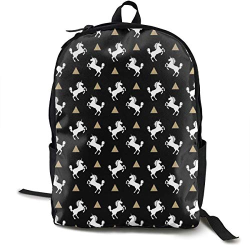 DJNGN Casual Rucksack,Travel Daypacks,Sports Book Bags,Unicorn Black Gold Glitter Unique Backpack Durable Oxford Outdoor College Students Busines Laptop Computer Shoulder Bags