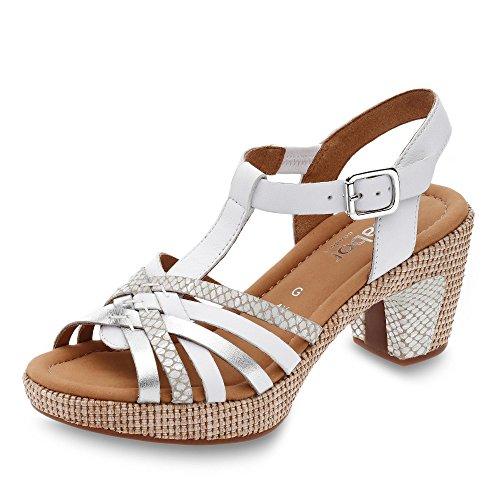 Gabor Damen Sandalen, Frauen Sandaletten,Comfort-Mehrweite,Übergrößen, Absatzschuhe hoher Absatz feminin Damen,Weiss/silb.(ba.st),37 EU / 4 UK