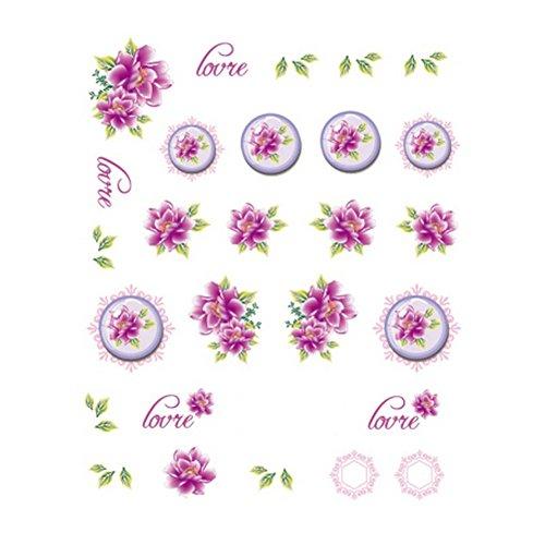 5Pcs Belle Motif Fleurs Nail Art Tips Sticker Décoration, BLE1998