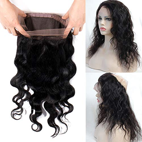 My-Lady 360 Lace Frontal Closure Remy Extensions Echthaar Virgin Hair with Baby Hair Natural Hairline Swiss Lace for Black Women Body Wave 100g - 40cm