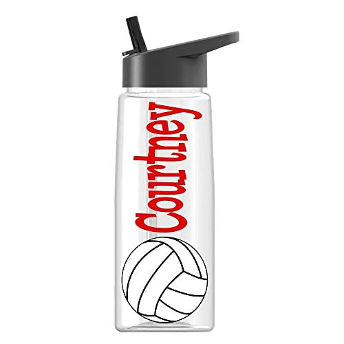 Personalized Sport Water Bottle Volleyball Design With Name BPA Free 26 Oz Clear Or Colored