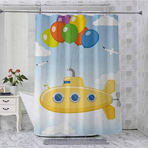 Aishare Store - Cortina de ducha de tela, color azul cielo con globos de colores gaviotas, nubes, guardería, niños, pájaros, 72 x 213 cm, cortina de baño con 12 ganchos, multicolor