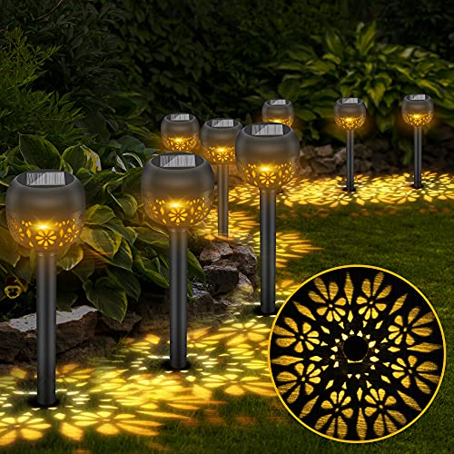 Vivibel Solarleuchten Garten, 8 Stück Solar Gartenleuchte, Solarlampen für Garten, IP65 wasserdichte Wegbeleuchtung, Solarleuchter für Außen Terrasse Rasen Garten Hofwege Wege