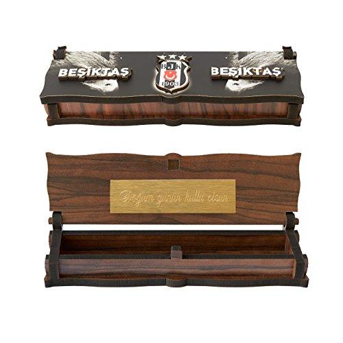 Gök-Türk Box Schatulle Aufbewahrung für Tesbih Gebetskette 'Besiktas' für Fußballfans aus Holz Handgemacht (mit Gravur)