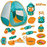 LBLA Children Camping Tent Set Wilderness Adventure Role Play Tent with Cooking Set