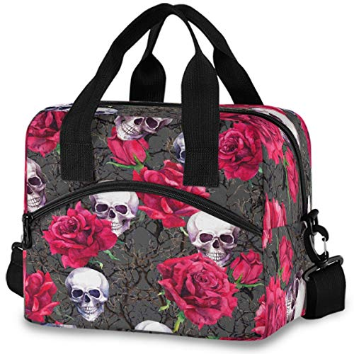 MNSRUU Insulated Lunch Bag Skulls Rose Flowers Lunch Tote Reusable Cooler Bag Container with Adjustable Shoulder Strap