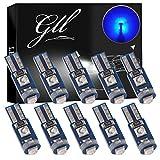 GLL 10pcs Ampoules LED T5 Bleu 3030 3SMD W1.2W W3W pour les Lampes de Tableau de Bord de la Voiture 120 Lumens