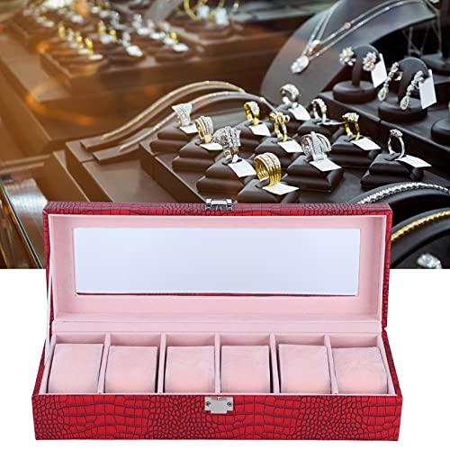 Jacksing Mire la Caja de Almacenamiento, Cuero Rectangular de la PU del Organizador de la joyería de la Caja de Reloj Multifuncional para la exhibición