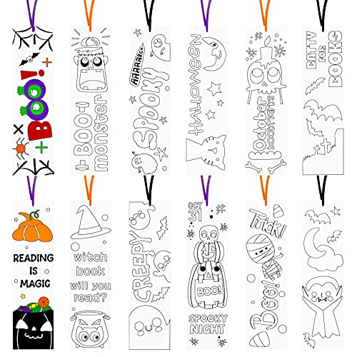 Haooryx 75Pcs HalloweenColorYourOwnBookmarks, Imaginative DIY Coated Paper Coloring Bookmarks for Halloween Party Gift Bag Fillers Reading Enthusiasts Writer Students Classroom Reward Supplies