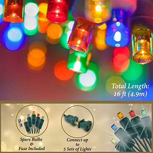 Holiday Essence 60 LED Mini Christmas Lights, Multi Color, Professional Grade for Indoor & Outdoor Use - Energy Efficient LED Bulbs - Green Wire - UL Certified