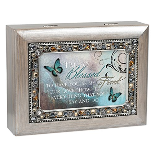Cottage Garden Blessed to Have You as Friend Brushed Pewter Jewelry Music Box Plays Wonderful World