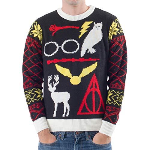 Harry Potter Suéter feo de Navidad con diseño de búho de las Reliquias de la Muerte para adultos