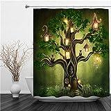 SUHETI Duschvorhang 180x180cm,Fantasy Forest Green Tree House Halloween Eule Blatt Pflanze abstrakten Nachthimmel,Duschvorhang Wasserabweisend-Duschvorhangringen 12 Shower Curtain mit