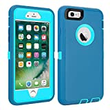 """CAFEWICH iPhone 6/6S Case Heavy Duty Shockproof High Impact Tough Rugged Hybrid Rubber Triple Defender Protective Anti-Shock Silicone Mobile Phone Cover for iPhone 6/6S 4.7""""(LtBlue)"""