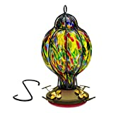 Best Home Products Hummingbird Feeder with Perch - Hand-Blown Glass Feeders | Treat ((Multi-Color)