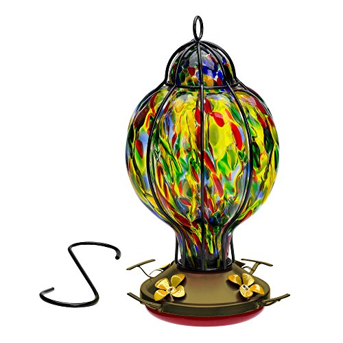 Best Home Products Hummingbird Feeder with Perch - Hand-Blown Glass Feeders   Treat ((Multi-Color)