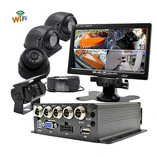 WeniChen WiFi 720P MDVR kit voor Bus Truck Trailer Real Time Remote Monitor op PC Smartphone - 4CH SD-kaart Video Recorder + 4X voorzijde achteruitrijcamera + 7