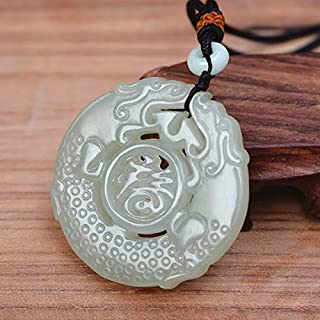 (Certificate) Natural White Hetian Nephrite Stone Hand Carved Antique Dragon Pendant Necklace Gift for Women Men Jades Jewelry - (Metal Color: add Certificate)