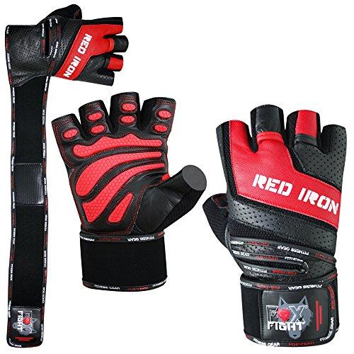 FOX-FIGHT RED Iron Fitness Kraftsport professionelle hochwertige Qualität Leder Trainingshandschuhe Handgelenkbandage Kraftsporthandschuhe Krafttraining Gewichtheben Bodybuilding M