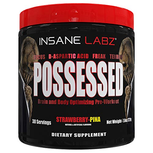 Insane Labz Possessed Low Stimulant Testosterone Boosting Pre Workout Powder, Loaded with D Aspartic Acid and Creatine Fueled by AMPiberry and OXYgold, 30 Srvgs, Strawberry Pina