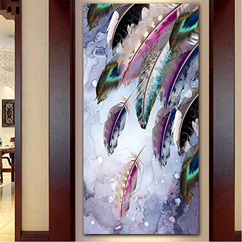 DIY 5D Grande Pintura Diamante Pluma de colores Kits,Diamond Painting Full Drill,Crystal Rhinestone bordado fotos arte Craft para la decoración del hogar 50x100cm Square Drill
