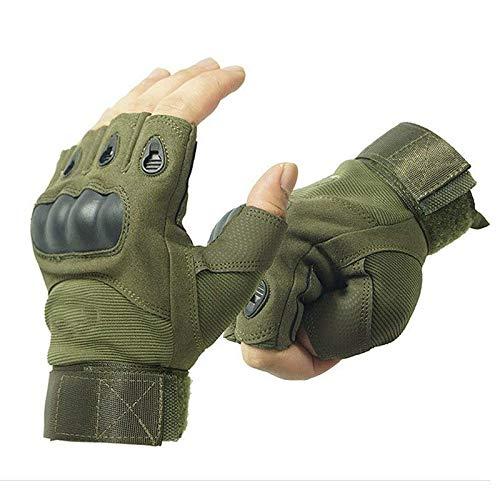 GOCART WITH G LOGO Half Finger Hard Knuckle Tactical Gloves(Green)