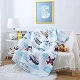 Steppdecke von Ustide für Babybetten, doppelseitige Decke aus Baumwolle für Kinder, 110 x 130 cm, Zug-Design, baumwolle, Hubschrauber, 43'x51'