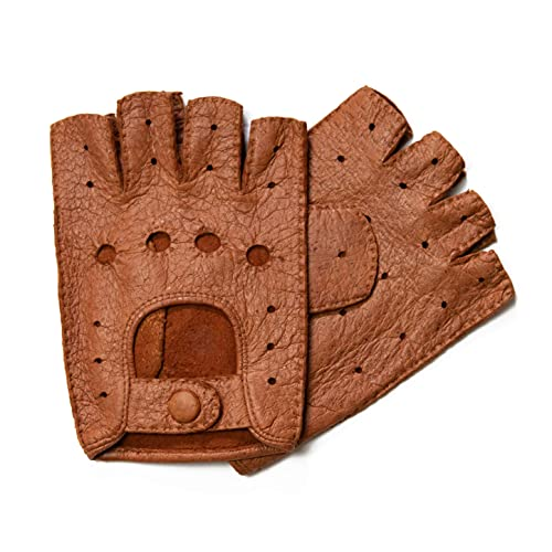 Hand Gewand by Weikert Exklusive Auto-Handschuhe aus Peccary Leder, fingerlos, handgenäht, Autofahrerhandschuhe Pekari, Herren, Damen, Mittelbraun Gr. 7,5